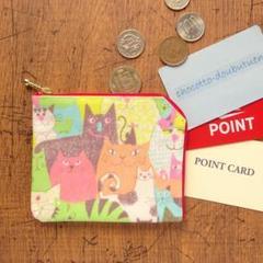 """Thumbnail of """"コインケース*猫いっぱいパステル*ラミネート生地2ポケット財布・カードケース"""""""