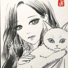 "Thumbnail of ""水墨画 墨絵 オリジナル 猫と女性"""