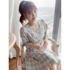 "Thumbnail of ""長袖チェックワンピース女性春服2021新モデルスカートs-2xl"""