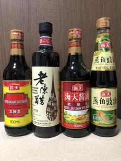 "Thumbnail of ""中華調味料4本セット 生抽(薄口醤油) 老抽(濃口醤油)  中国黒酢 蒸魚豉油"""