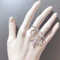 "Thumbnail of ""量産型 silver 十字架と天使お羽根 2連チェーン指輪"""