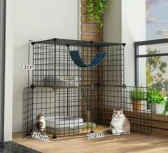"""Thumbnail of """"黒の新作!猫かご家庭用の室内小型猫の巣超自由空間の幼い猫の別荘"""""""