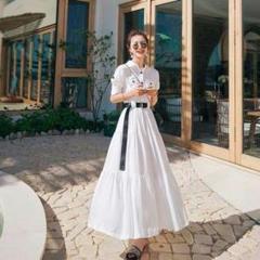 春物コーデロングワンピース レディース ドレス ホワイト 半袖 パーティー 4