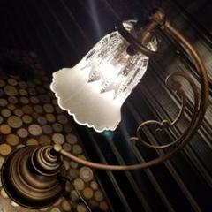 """Thumbnail of """"ヴィンテージ ブラス テーブル ガラスシェード ランプ 無垢 真鍮 摺り硝子"""""""