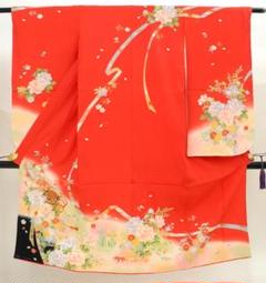 "Thumbnail of ""七五三 正絹 7歳用 女の子 高級 振袖 着物◆赤色系 鞠に花◆h1030"""