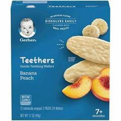 "Thumbnail of ""ガーバ、Gerber、生後7か月以上、バナナモモ、12袋(各2枚入り)2箱付き"""