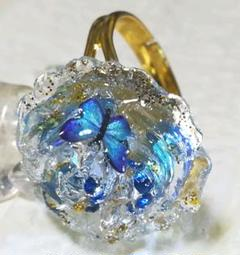 """Thumbnail of """"❀レジンリング薔薇と蝶❀clear&blue gold❀"""""""