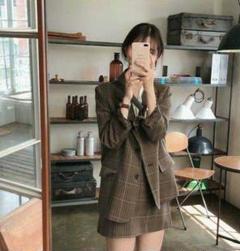 "Thumbnail of ""韓国 ファッション レディース セットアップ チェック ジャケット スカート0"""
