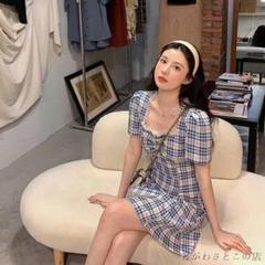 """Thumbnail of """"のレトロなウエストい泡の袖のチェックのワンピースの女性の夏の短いスカート H5"""""""