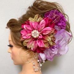 "Thumbnail of ""ピンク紫 和装髪飾り 振袖髪飾り 成人式髪飾り 色打掛髪飾り 着物髪飾り"""