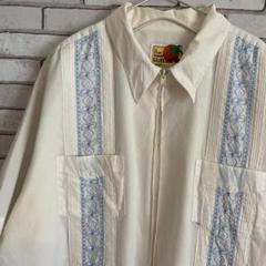 "Thumbnail of ""激レア GUAYABERA キューバシャツ フルジップ 刺繍入り ホワイト XL"""
