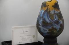 "Thumbnail of ""特大 エミールガレ 花器 花瓶 カメオ彫り 被せガラス 高さ33cm"""