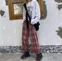 """Thumbnail of """"大人気⭐️チェック柄 ワイドレッグパンツ ワイドパンツ イージーパンツ⭐️ピンク"""""""