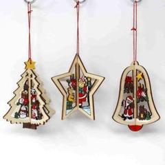 "Thumbnail of ""クリスマス 飾り 木製 オーナメント 3種セット ・b19"""