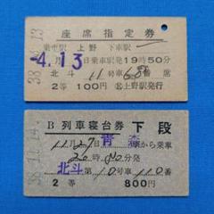 【希少】国鉄硬券切符「寝台急行時代の北斗」座席指定券(列車名常備)+寝台券