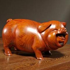 "Thumbnail of ""かわいい豚の家のリビングルームの装飾的なマホガニー彫刻クラフトギフト3"""