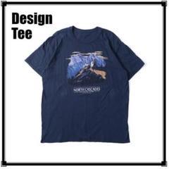 "Thumbnail of ""MS620 USA古着 マウンテンデザインTシャツ ネイビー L相当"""