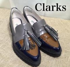 "Thumbnail of ""Clarks クラークス エナメル タッセル ローファー ネイビー"""