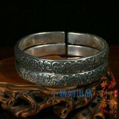 "Thumbnail of ""S925男性純銀ブレスレット ネパールのチベット族の純正な手工芸の銀の飾り0"""