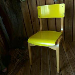 "Thumbnail of ""ヴィンテージ*ウッド キッズ チェア木製椅子黄色イギリス アンティーク スタイル"""