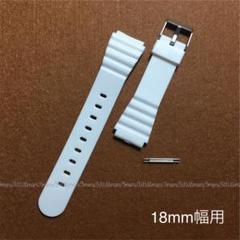 "Thumbnail of ""ホワイト,白♪腕時計ベルト☆取付幅18mm用♪バネ棒2本付属,樹脂製ベルト"""