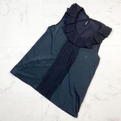 シンクロクロッシング デザインプリーツ襟デザインブラウス黒サイズ38*TT420