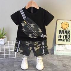 """Thumbnail of """"黒 キッズ セットアップ 子供服 上下セット 迷彩 ショルダー パンツ Tシャツ"""""""