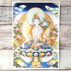 """Thumbnail of """"チベットタンカ シルクスクリーン 仏教画 ホワイトターラ"""""""