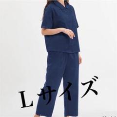 "Thumbnail of ""GU ジーユー サテンパジャマ 上下 ネイビー Lサイズ 半袖"""