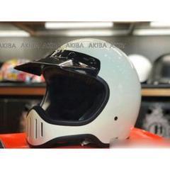 """Thumbnail of """"大人気 白い レトロハーレーバイク用ヘルメットフルヘルメット非シンプソン"""""""