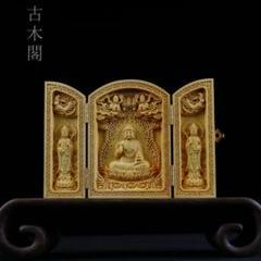 "Thumbnail of ""坐西方三聖 木製仏像 精密彫刻 彫刻工芸品 置物 収蔵品"""