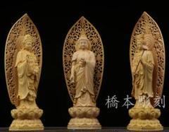 """Thumbnail of """"立蓮西方三聖 仏教美術品 黄楊 仏陀彫刻 彫刻工芸品"""""""
