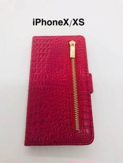 "Thumbnail of ""iPhoneXS X クロコダイル手帳型ケース レッド 赤"""
