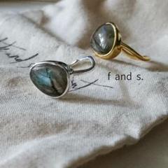 "Thumbnail of ""●gray moonstone ring/gd/sv_№010"""