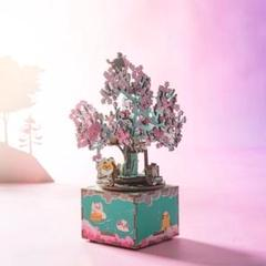 "Thumbnail of ""立体パズル 木製 オルゴール 3D 桜 猫 DIY おもちゃ インテリア"""