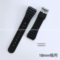 "Thumbnail of ""ブラック黒,樹脂製ベルト♪取付幅18mm☆バネ棒2本付属.交換ベルト腕時計ベルト"""