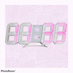 "Thumbnail of ""注目の品‼インテリアとしての時計 ♡白ぶちピンクの光♡立体時計"""