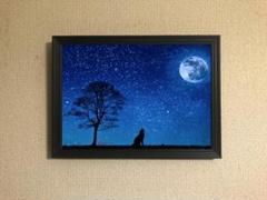 "Thumbnail of ""068 夜のサバンナ キャンバスアート【A4サイズフレーム付】"""