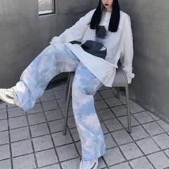 "Thumbnail of ""926*韓国ファッション【新作入荷】空色ワイドパンツ"""