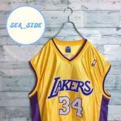 "Thumbnail of ""《NBA》レイカーズ ゲームシャツ チャンピオン ロゴ刺繍 ユニフォーム 3XL"""