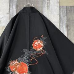 "Thumbnail of ""古着 vintage 羽織り 着物コート 和柄 カーディガン オレンジ 黒"""