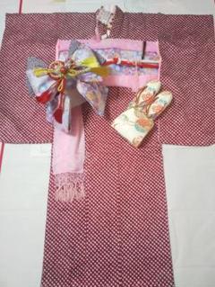 "Thumbnail of ""七五三 7歳 総絞り 正絹 着物 作り帯 筥迫 セット"""