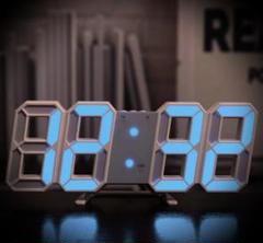 """Thumbnail of """"SNSで紹介されたそうです‼-- 3D立体時計--白ぶち青ライト"""""""