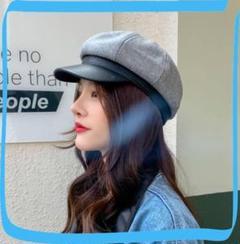 "Thumbnail of ""新品*大人可愛い*レトロ系*キャスケット*帽子*PUレザー*グレー*レディース"""