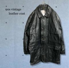 "Thumbnail of ""90s vintage 古着 レザー コート ステンカラー ブラック 菅田将暉"""