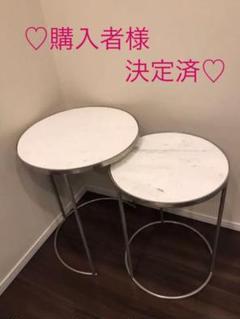 "Thumbnail of ""未使用♡ ザラホーム 大理石 サイドテーブル シルバー (大) ①"""