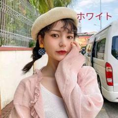 """Thumbnail of """"ベレー帽 ハンチング ニット帽 サマーニット ホワイト 調節可 おしゃれ 可愛い"""""""