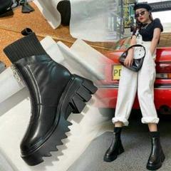 "Thumbnail of ""本当に柔らかい革の短いブーツの女性厚底の靴下のブーツの女性W2"""