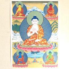 "Thumbnail of ""チベタンタンカ 宗教画【Five Tathagatas 五智如来】チベット密教"""
