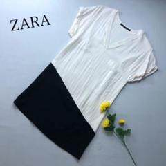 "Thumbnail of ""ZARA BASIC アシンメトリー 異素材ワンピース 春夏 Vネック 半袖"""